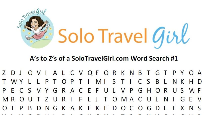 Things to do Under Quarantine: Solo Travel Girl's Word Search!
