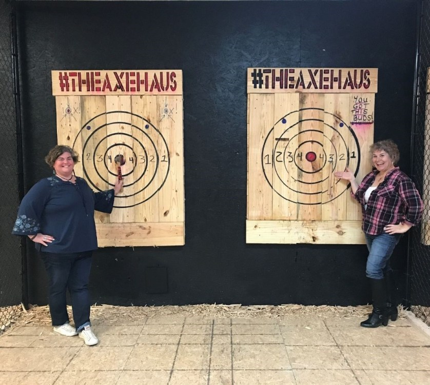 Janet and Me with Our Bullseyes at The Axe Haus in North Port, Fla., Feb. 2020
