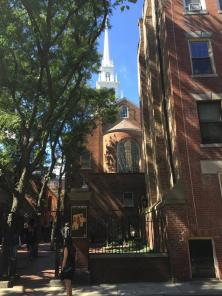 "Old North Church where the signal lanterns from Paul Revere - ""one if by land, and two if by sea"" - ignited the American Revolution"
