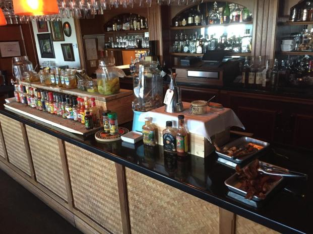 Bloody Mary bar, and yes, thats griled shrimp and bacon at the nd on the right, also for your Bloody Mary :)
