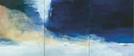 """Peinture de Zao Wou-Ki, """"Le vent pousse la mer"""", triptyque de 2004"""