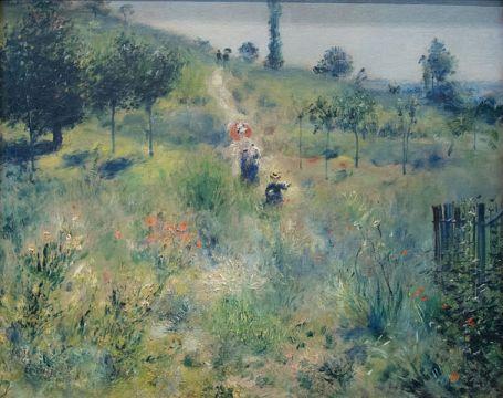 Tableau impressionniste de Renoir, Chemin montant dans les hautes herbes, 1877, exposé lors de l'exposition impressionniste de 1874