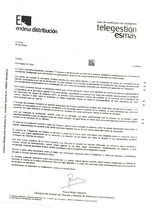 Endesa Distribución letter about changing electricity