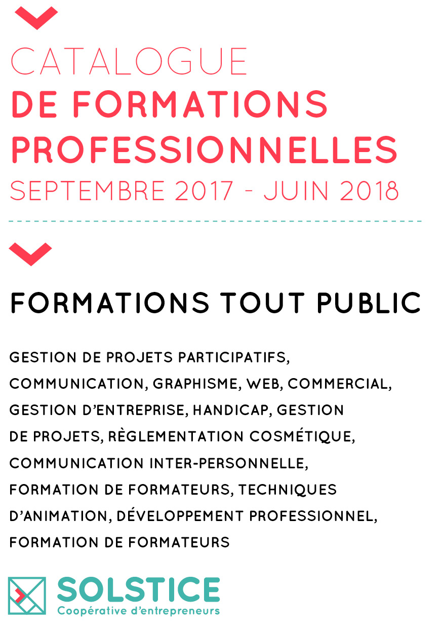 Catalogue Formations professionnelles Solstice CAE 2017-2018