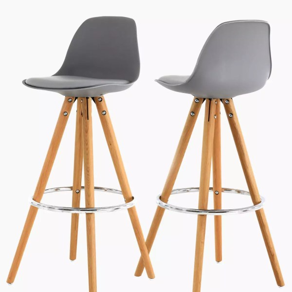 Chaises de bar cir-cha gris - Lot de 2
