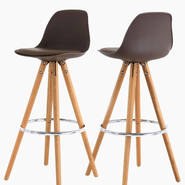 Chaises de bar cir-cha taupe - Lot de 2