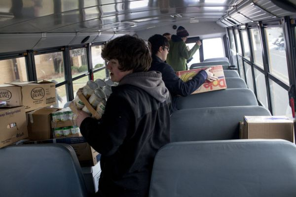 food bank gets free publicity from student marketing club