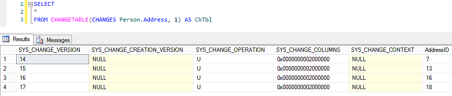 Table changes that have occurred after the specified version number