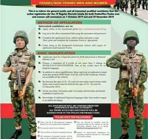 Nigerian Army Recruitment 2019 – How to Apply For Army Recruitment 2019/2020