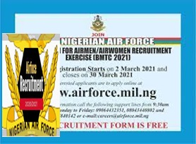 Nigerian Airforce Recruitment 2021 – www.airforce.mil.ng