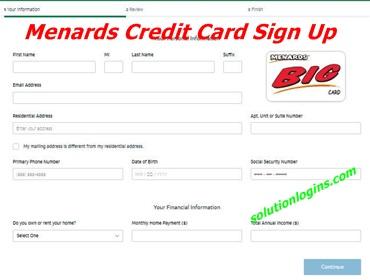 Menards Credit Card Sign Up