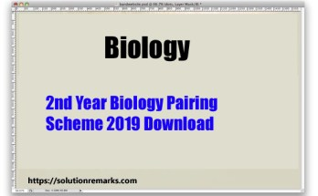 2nd Year Biology Pairing Scheme 2019 Download