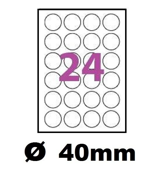 planche de 24 étiquettes transparentes Mat polyester