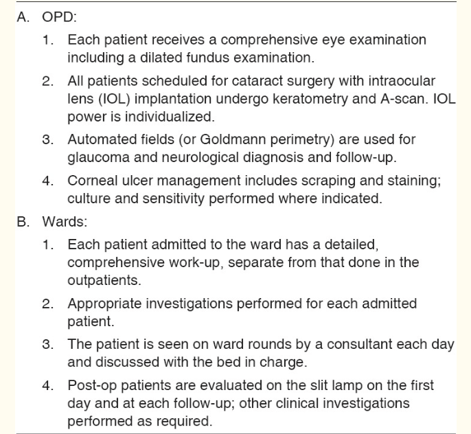 Criteria for OPD and ward