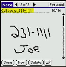Transcribing a note
