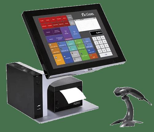 terminal de caisse tactile aures avec son imprimante et son lecteur de code barre