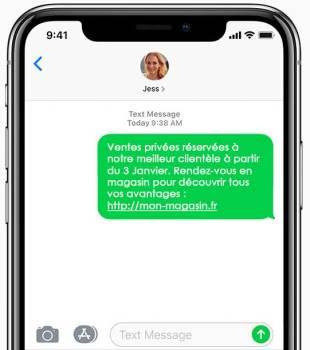 un exemple de sms envoyé depuis votre magasin