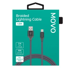 MOVO Apple Lightning Cable Braided Fast Charge 150cm Grey