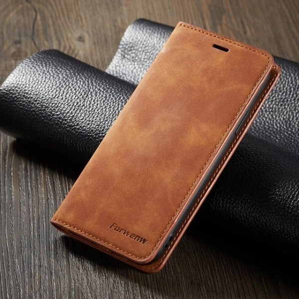 Brown Magnet Leather Flip Case For iPhone 11 Pro Max