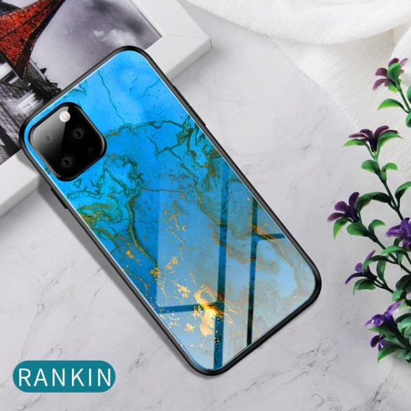 iPhone 11 Pro Eqvvol tempered glass case marble blue