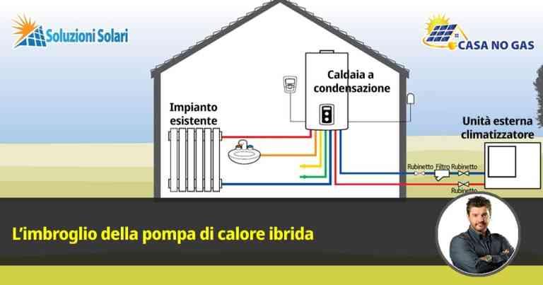 la pompa di calore ibrida è una trovata commerciale per venderti a caro prezzo una caldaia a condensazione che abbinata all'unità esterna di un condizionatore d'aria non ti darà mai i benefici che speri di ottenere