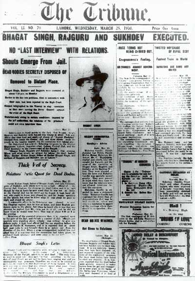 bhagat_singhs_execution_lahore_tribune_front_page