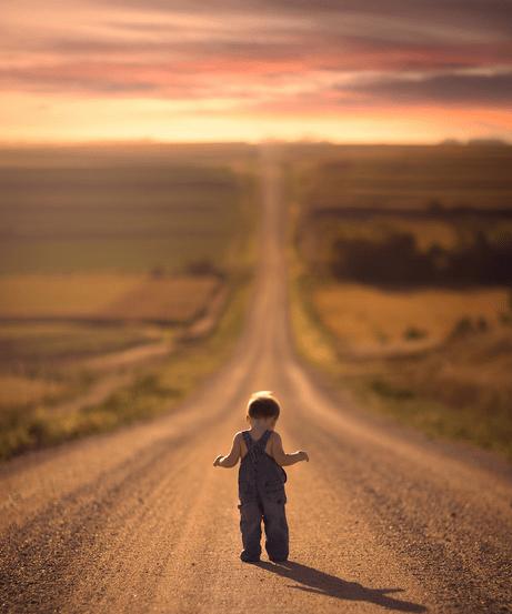 kid_Boy_Alone_Path_Forest_Road_Long_All-By_Himself_Walk_Coat_Dress