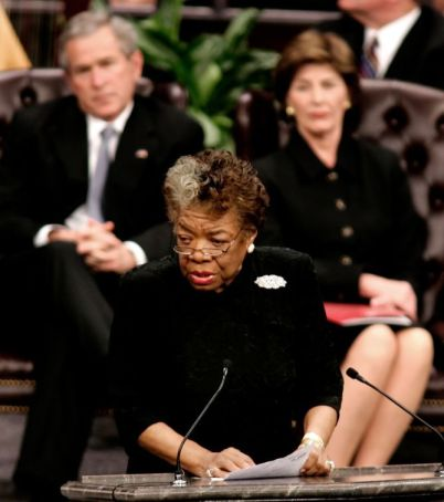 Poet Maya Angelou speaks at Coretta Scott King funeral service in Lithonia Georgia