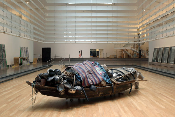 Subodh_Gupta_Fishing_Net_Queens_Museum_Installation_Bamboo_Rope_Plastic_Pipe_River_Vessel_Arts_Indian_Exhibitions_Wood