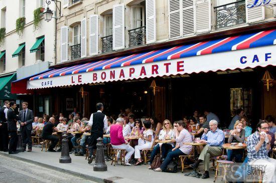 Cafe Le Bonaparte on St Germain des Pres in Paris, France