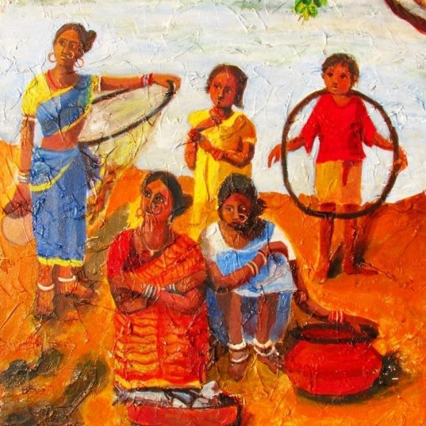 Paintings-fisher-women-acrylic-on-canvas