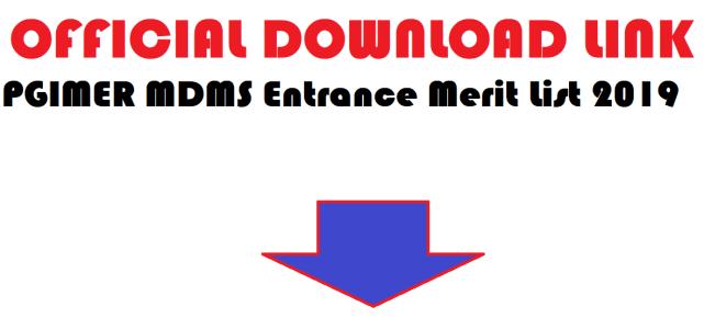 PGIMER MDMS Entrance Merit List 2019