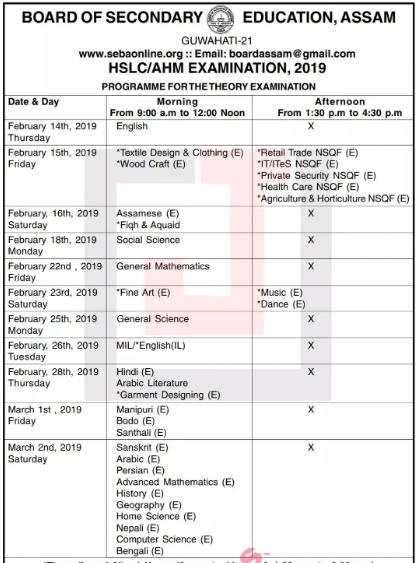 SEBA HSLC Routine 2019