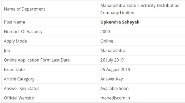MAHADISCOM Upkendra Sahayak Examination 2019