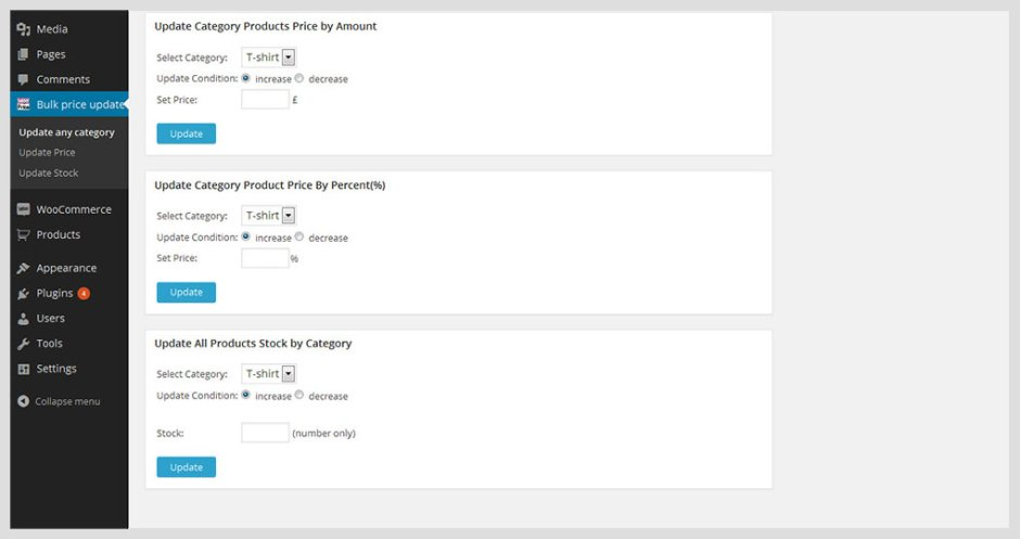 WooCommerce Bulk Price and Stock Quantity Update