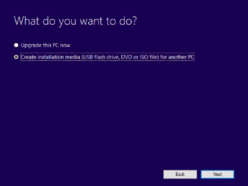 Windows Installation Media Option