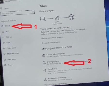 Windows 10 Sharing option