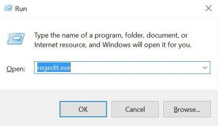 Windows 10 Dialog Box Regedit