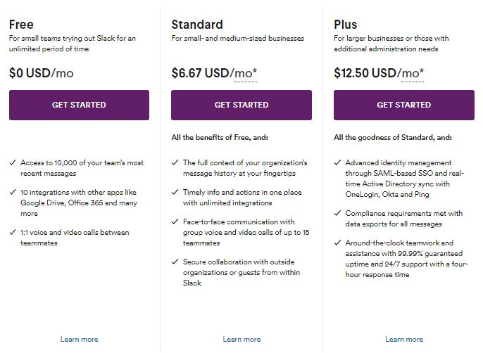 Slack Plan and Pricing Table