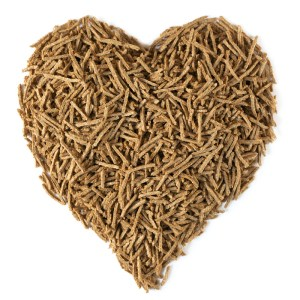 A heart shaped pile of bran fiber.