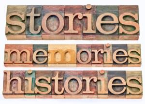 Blocks of letters spelling Stories, Memories, Histories