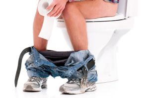 Man stuck sitting on the toilet. Could he have a food sensitivity? From Solving the IBS Puzzle.