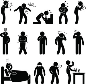 """Sign showing the many symptoms of a """"stomach bug"""" AKA gastroenteritis"""