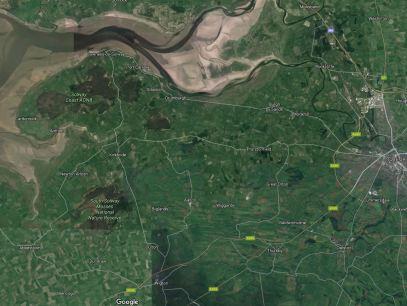 Google Earth image. South Solway Mosses = Wedholme + Kirkbride Moss