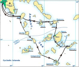 'Ionia's Cyclades Islands route map