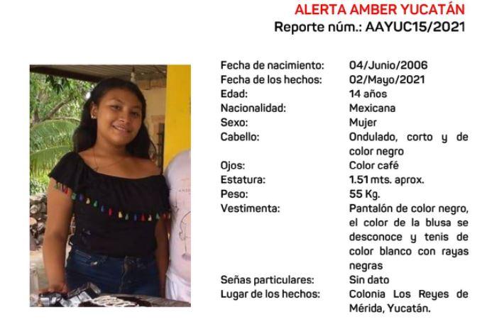 ALERTA AMBER POR ADOLESCENTE DESAPARECIDA EN LA COLONIA LOS REYES
