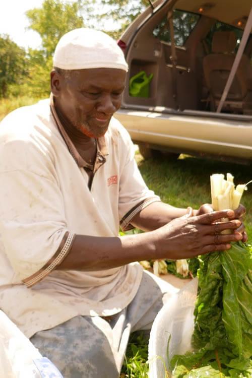 Somali Bantu Man with Organic produce