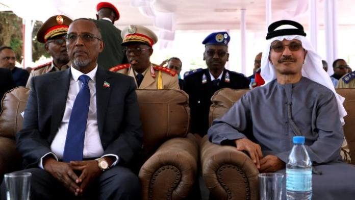 Muse Bihi Abdi, president of Somaliland, and Sultan Ahmed bin Sulayem, chairman and CEO of DP World attend the signing ceremony for the expansion project of Berbera port © Reuters