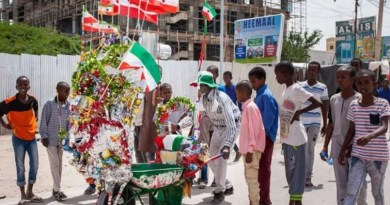 A man pushes his decorated wheelbarrow during celebrations of the 27th anniversary of self-declared independence of Somaliland in Hargeisa on May 15, 2018. PHOTO | AFP