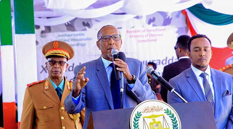 Somaliland Presdient Muse Bihi Abdi speaking at the ceremony of the 27th anniversary of Somaliland armed forces